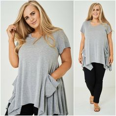 Womens Plus Sizes Lagenlook Layering T-Shirt Top Tunic Grey Draped Pockets UK 18 Relaxed Outfit, Size Clothing, Plus Size Outfits, Layering, Tunic Tops, Pockets, Clothes For Women, Grey, Casual