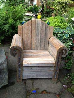 Garden Chairs, Garden Furniture, Garden Chair Ideas, Gardens Ä … - Diy Möbel Wood Pallet Furniture, Furniture Projects, Rustic Furniture, Wood Projects, Diy Furniture, Woodworking Projects, Furniture Design, Garden Furniture, Pallet Chair