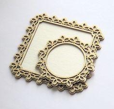 DIE CUT - CHIPBOARD - cadre photo circle/carre en dentelle - 2 pieces 3D Scrapbook Supplies, Scrapbooking, Chipboard, Die Cutting, 3d, Frame, Cadre Photo, Scrapbooks, A Frame