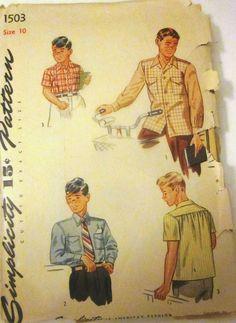 Simplicity1503 Boys Shirt Pattern 1940s Vintage by Denisecraft, $6.99