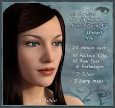 All+My+Eyes+for+G3+-+$8.00+:+Fantasies+Realm+Market!,+All My Eyes for G3 characters For Daz Studio 4.6 and up  Variety is the spice of life A variety of irises regular,fantasy and anime, sclera and reflections, that will change your character's eyes to the look you want. They will work on G3 Female,G3 Male, V7, and M7. Both 3Dlight and Iray included. Iray will only work in DS4.8 and DS4.9 & a Merchant Resource too!
