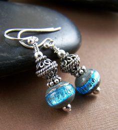 Blue Moon Earrings Lampwork Glass Bead and by StoneStreetStudio