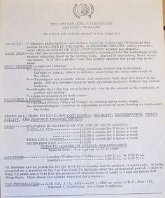 Oakland School Documents (3 of 3)  A flier advertising Bruce Lee's Jun Fan Gung Fu Institute in Oakland. It's fascinating to read how…