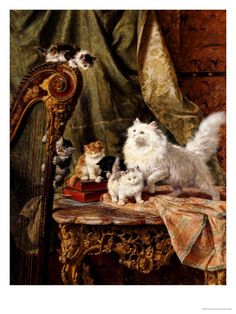 Henriette Ronner-Knip - A Musical Interlude fine art preproduction . Explore our collection of Henriette Ronner-Knip fine art prints, giclees, posters and hand crafted canvas products Illustration Art, Illustrations, Image Chat, Gatos Cats, Kitty Games, Vintage Cat, Cat Drawing, Beautiful Cats, Animal Paintings