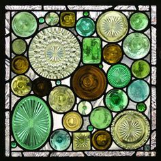 Stained Glass Wine Bottle Panel Incredibly, this stained-glass panel is made from upcycled wine bottle bottoms. To design your own custom panel, choose an assortment of bottle sizes, patterns, and colors, then cut off the bottom of each bottle. Arrange the bottoms in a pleasing pattern, then hang your creation on the wall as art or in a window to catch the sun.