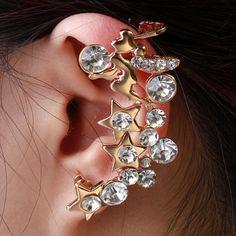 Fashion Women Rhinestone Rose Gold Star Ear Cuffs Single Earrings