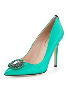 Thea Satin Ornament Pump, Green by SJP by Sarah Jessica Parker | Neiman Marcus.