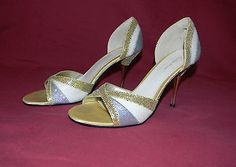 CHARLOTT RUSSE Gold Silver White Glitter Open Toe Pumps EUC!! Size 8 - BUY NOW ONLY 8.99