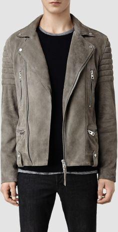 Allsaints Murphy Leather Biker Jacket in Gray for Men (Cement)