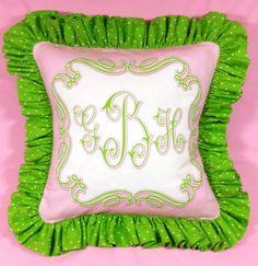 Triple Monogram Pink  Green Ruffled Pillow by sillyheartstudio