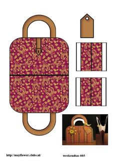 Printable Burgundy & Gold Pattern Suitcase Printable Box, Printables, Paper Purse, Origami Envelope, Cute Wallets, Diy Gift Box, Cute Packaging, Barbie Accessories, Mini Handbags