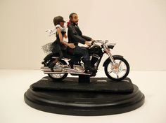 Wedding Cake Topper Motorcycle African American bride and bald