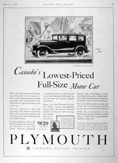 1929 Plymouth Sedan original vintage advertisement.Canada's lowest priced full size motor car. Original MSRP started at $890, f.o.b. Windsor, Ontario.