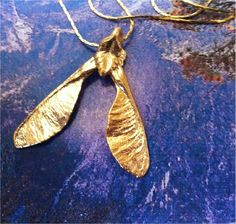 Real Maple Seed Necklace, Real Leaf Jewelry, 24K gold dipped, Nature's Leaves, wedding, gift, bridal. $11.95, via Etsy.