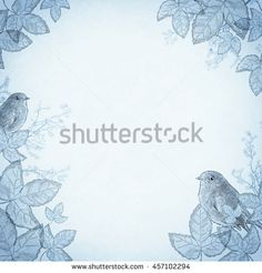 Birds in foliage, blue. An ancient illustration sketch, in vintage style. Retro background, basis for design or text.