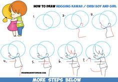 How to Draw Chibi Girl and Boy Hugging - Cute Kawaii Cartoon Children Hugging in…