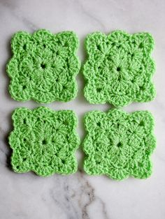 Square Shell coasters  by Gaby V - free crochet pattern