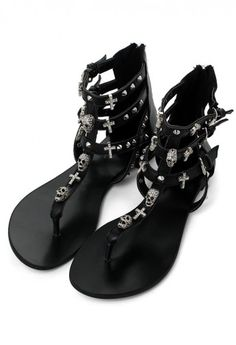 Skull Stud Sandals in Black.