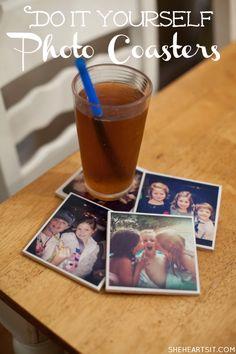 She {hearts} DIY Photo Coasters