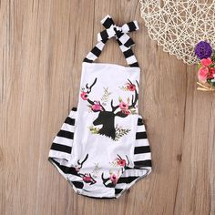 1706ad6278bf Cotton Deer Onesie with striped back. Pairs well with a cute Headband