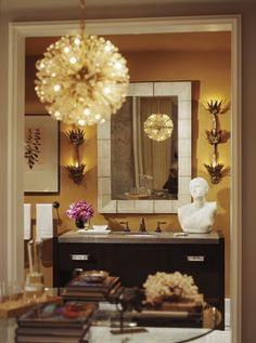 love the chandelier idea in a powder room. Awesome!!!