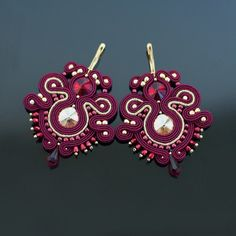 Soutache earrings - Marsala - Gold by SzkatulkaEmi on Etsy