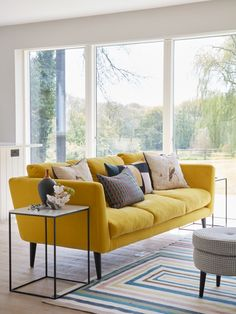 Mum's Granny annex reveal- the open plan kitchen living room – Sophie Robinson Kitchen Sofa, Open Plan Kitchen Living Room, Small Living Rooms, Living Room Sofa, Home Living Room, Living Room Furniture, Living Room Decor, Small Open Plan Kitchens, Yellow Couch