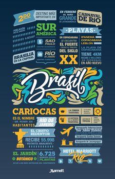 Brasil, un país lleno de colores, luces, alegría y baile. Planea tus vacaciones en este lugar y disfruta del carnaval más grande de Latinoamérica.  #Vacaciones #Brasil #Cariocas #Infografía #Datos