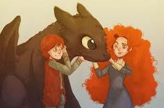 Fanart: Hiccup meets Merida. Could have been from my son  - he is also currently into both of those story-worlds a lot.