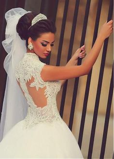Eye-catching Tulle & Satin Queen Anne Neckline Ball Gown Wedding Dresses With Embroidery & Beadings