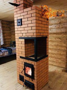 Home Stairs Design, Interior Design Living Room, Living Room Designs, Kitchen Stove, Stove Oven, Wood Stove Heater, Brick Bbq, Sauna Design, Outdoor Stove