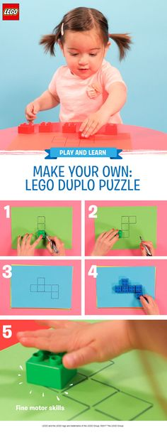 This is a simple 'quiet time' puzzle game for busy pre-schoolers. It's great for practicing color and shape recognition, and only takes five minutes to prepare! You'll need some sheets of colored paper, LEGO DUPLO bricks in corresponding colors, a ruler and a pen. Draw around the bricks creating a puzzle shape, then encourage your child to see if they can fit all the bricks in the right place in the pattern. Make it trickier by removing the lines in the middle and making bigger designs.