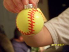 Use neon yellow paint for the inside and red puffy paint for the stiching on the outside. You could make baseballs, basketballs, etc. Softball Rules, Softball Party, Softball Crafts, Girls Softball, Softball Stuff, Christmas Arts And Crafts, Christmas Decorations To Make, Christmas Fun, Holiday Fun