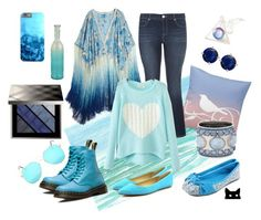 """""""Feeling Blue"""" by constance-mcnamara-romanowski on Polyvore featuring Burberry, Calypso St. Barth, Dr. Martens, Joes, Mojo Moxy, Pier 1 Imports, Chico's, Bling Jewelry, maurices and Urban Outfitters"""
