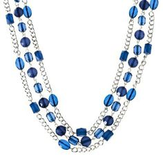Fashion Multi-Strand Necklace with Stones - Silver/Blue