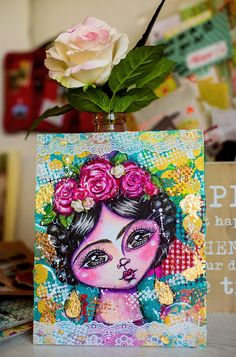 Cre8tive Cre8tions by Andrea Gomoll | Art Collaboration: Mixed Media – a whimsical Frida Kahlo | http://andrea-gomoll.de