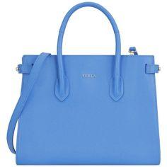 Furla Handbag (415 PAB) ❤ liked on Polyvore featuring bags, handbags, purses, totes, pastel blue, blue leather shoulder bag, genuine leather shoulder bag, doctor bag, studded leather handbags and leather doctor bag