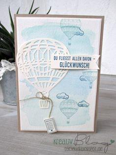Wieder ist eine Karte mit Aquarellhinterund und den wunderschönen Heißluftballons entstanden.  Für den Hintergrund habe ich die Aquarellst...