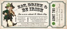Charming St. Patricks Day Invitations in a ticket style. St. Patricks Day Ticket Party Invites.