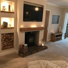 42 Trendy Home Decored Country Living Room Log Burner Home Fireplace, Cosy Living Room, Log Burner Fireplace, Living Room With Fireplace, Living Room Designs, Home Living Room, Log Burner Living Room, Cottage Living Rooms, Living Room Storage