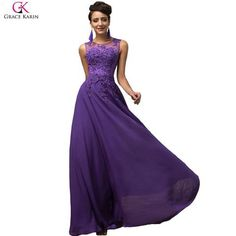 Elegant Avondjurk Grace Karin Long A-line Vestido Chiffon Sleeveless Pink Purple Prom Dress Women Formal Evening Dresses 7555 - On Trends Avenue
