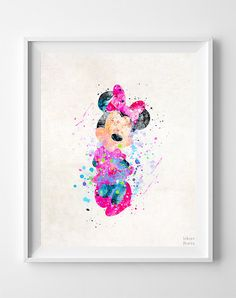 Minnie Mouse Print Minnie Watercolor Art Type 2 by InkistPrints