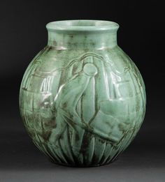 c.1938 | Shearwater Pottery | Mac Anderson | Antique green glaze with charcoaling