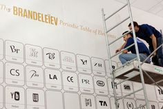 """The periodic classification table of brands  Our """"Brandeleiev"""" table is displayed as a double-height mural. It is an interpretation of Mendeleev's periodic table. Instead of the letters of the chemical elements, it features elements of major international brands."""