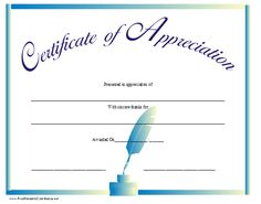 A certificate of appreciation with a blue ink well and pen and a title in script. Free to download and print