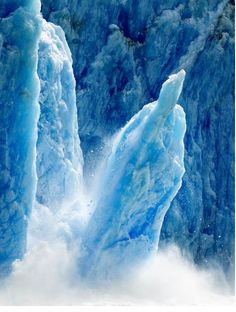 I'd like to see an iceberg calve. This is Dawes Glacier in the Tracy Arm Fjords Terror Wilderness in Alaska All Nature, Amazing Nature, Mother Earth, Mother Nature, North To Alaska, Alaska Usa, Ethereal Beauty, Alaska Cruise, Alaska Travel