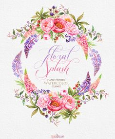 Wedding Invitation. Stylish Watercolor Wreath & от ReachDreams