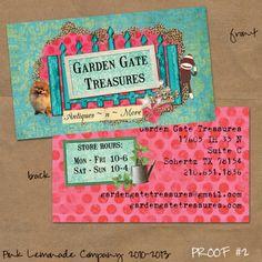 Custom Business Card design for Garden Gate Treasures. www.pinklemonadecompany.com/shop