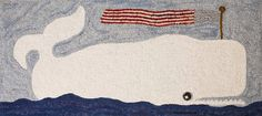 """A """"Patriotic Whale """" hooked rug, by Polly Minick."""