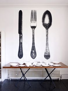 """This hand screen print wallpaper by Tracy Kendall is magnificent! Titled """"Cutlery"""", you can get each piece separately, yum yum! Wallpaper Co, Kitchen Wallpaper, Wallpaper Panels, Designer Wallpaper, White Wallpaper, Kendall, Kitchen Feature Wall, Turbulence Deco, Knife And Fork"""